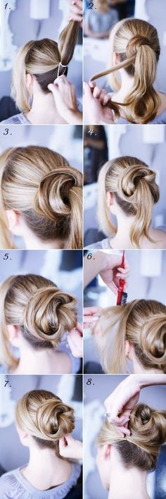 Chic Chignon hairstyle is perfect for you, if you want to special hairdo for a party or occasion. Chignon hairstyle gives a unique look to your hair. Updo Hairstyles Tutorials, Bun Hairstyles, Pretty Hairstyles, Wedding Hairstyles, Hairstyle Ideas, Bun Tutorials, Fashion Hairstyles, Vintage Hairstyles, Party Hairstyle