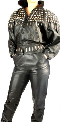 """This is a stunning leather suit from BEGEDOR that would attract attention - love the studded jacket and high waist pants. PANTS are size 6 waist is 26"""" Hips 38"""" Inseam 30"""" fully lined - back zipper, pockets and studded waistband. 