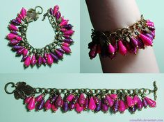 Tutorial for making this bracelet: This was fun! The bracelets are memory wire, to keep a neat round bangle shape, and the beads are rolled paper, each bead 1cm wide. I used white printer paper for...