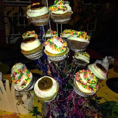 Mardi Gras cupcake display