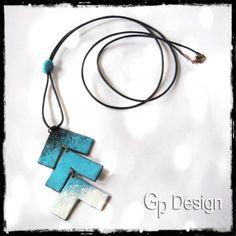 Long neclace- collier sautoir tendances forme geometrique - collier tendance- emaux sur cuivre- collier de créateur