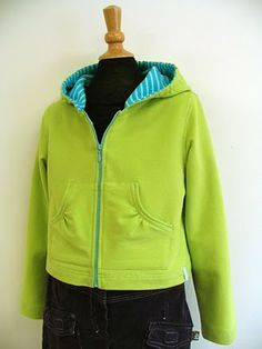 I made this jacket for Ella yesterday but wasn't happy with the zipper at the top.  Might have to have another go!  It really is a GREAT pattern for a basic hooded jacket.