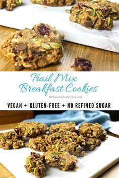 Trail Mix Breakfast Cookies with Psyllium - vegan, gluten free, dairy free, no added sugar, high in fiber - recipe by Christy Brissette, media dietitian, 80 Twenty Nutrition www.80twentynutrition.com