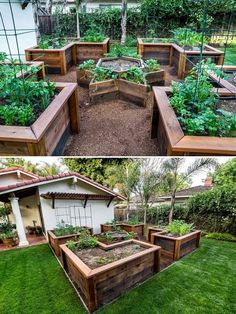 Raised garden beds add a lot of beauty to a garden. They're also excellent for drainage, warming up the soil faster in the springtime and a little higher for easier harvesting. They can make your garden look amazing! There are a many designs & materials you can use create a raised vegetable ga Raised Bed Gardens, Back Yard Gardens, Raised Bed Diy, Raised Garden Bed Design, Diy Raised Garden Beds, Raised Garden Planters, Raised Vegetable Gardens, Raised Planter Beds, Building A Raised Garden