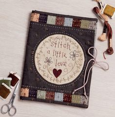 I think this is a journal cover, but it would make a nice mini quilt. I like how the embroidery is framed by the fabric & patchwork. Hand Embroidery Projects, Hand Embroidery Patterns, Embroidery Stitches, Machine Embroidery, Quilting Tips, Quilting Tutorials, Hand Quilting, Fabric Book Covers, Fabric Journals