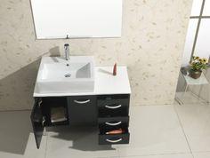 Virtu USA UM-3069 Tilda 40-Inch Single Sink Bathroom Vanity White Stone Countertop, Ceramic Basin, Chrome Faucet and Mirror, Black Finish
