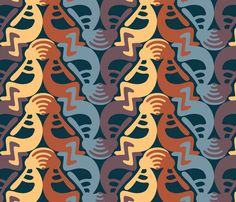 Kokopelli Earth fabric by andrea11 on Spoonflower - custom fabric