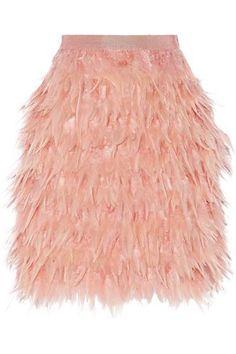 Feather and silk mini skirt #skirt #women #covetme #dkny
