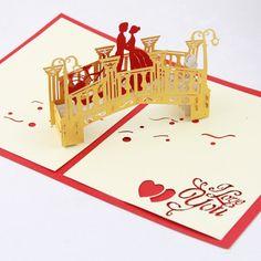 Handmade origami papercraft art popup pop up Xmas Christmas gold bridge wedding invitation annive Kirigami Patterns, Card Patterns, 3d Cards, Pop Up Cards, Folded Cards, Geometric Origami, Diy Origami, Paper Pop, 3d Paper