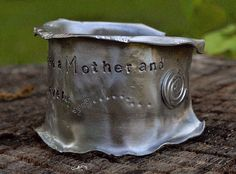 'The Love Between A Mother & Daughter Is Forever' Silver Cuff Bracelet, Aluminum Freeform Wrist Cuff, Wide, Personalized Stamped Message