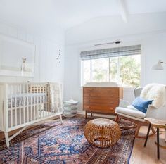 Bohemian simple nursery. Love this natural look!