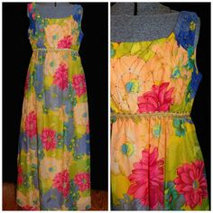 Vintage 1960's / Maxi Hostess Dress / Size Small / Bright Watercolor Floral / Metal Zipper / Smocking