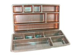 vintage desk drawer organizer, wood grain plastic drawer organizer, retro office decor