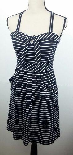5a191cb251f Nautica Women s Medium Dress Navy Blue Striped Sundress Nautical Pin Up  Beach  Nautica  Sundress