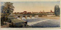 Ansicht von München, und des von dem Verfasser der theoretisch-practischen Wasserbaukunst, Ritter von Wiebeking, in der Isar erbauten Durchlass Wehres.: - Antiquariat Peter Fritzen