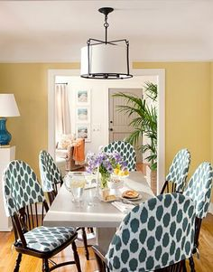 ceiling colored shade: visual interest but blends;   green, blue, orange - contrast against yellow