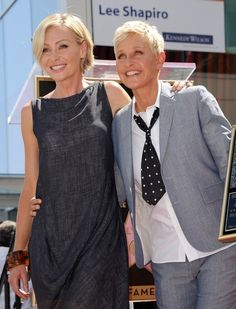 Ellen Degeneres and Portia de Rossi show a very butch-femme relationship. This image of the two shows Ellen in very masculine attire, as she always is. This makes Ellen a very mannish lesbian because of her suit and tie choice. Ellen Degeneres And Portia, Ellen And Portia, Portia De Rossi, Famous Couples, Suit And Tie, Best Couple, Celebrity Couples, Role Models, Two By Two