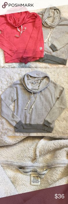 American Eagle Cowl Neck Bundle! *2 American Eagle Cowl Neck Sweatshirts* • Condition: coral- NWOT, gray- worn once  • Defects: none • Size: coral- small, gray- xs • Color: coral/pink and gray • Features: Cowl Neck Pullover Sweatshirt with drawstring and textured arms  • both will fit a small or xs  + Offers welcome! Bundle for more savings! :) American Eagle Outfitters Sweaters Cowl & Turtlenecks