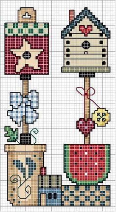 Schema punto croce Casa Uccellino Bello 1