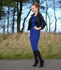 autumn outfit featuring blue pencil dress and black leather biker jacket  Skromný Štýl 4fc3f0b2f00