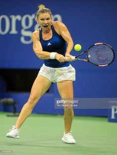 S. Open - Day 10 Simona Halep of Romania in action against Serena Williams of the United States in the Women's Singles Quarterfinal match on Arthur Ashe Stadium on day ten of the 2016 US Open Tennis Tournament at the USTA Billie Jean King National Tennis Center on September 7, 2016 in Flushing, Queens, New York City.