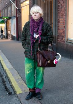 """""""I like comfortable and very colourful clothes. Pullovers are lovely and 20s fashion is interesting and elegant.Now I'm wearing a scarf from Only, my grandmother's old trousers and my other grandmother's old bag. The rest is second hand."""""""