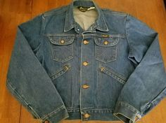 Vintage Wrangler No Fault Denim Jean Jacket Dark Blue 4 Pocket Cowboy Mens 44 #Wrangler