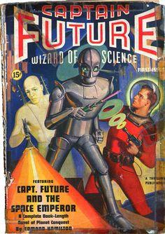 """Captain Future: Wizard of Science (a pulp fiction series from the ~retro-futurism Science Fiction Kunst, Science Fiction Magazines, Arte Sci Fi, Sci Fi Art, Comics Illustration, Illustrations, Caricature, Pulp Fiction Comics, Retro Robot"