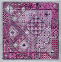 "Amethyst Dreams 10"" x 10"" on 18 ct  pewter canvas Pattern: $16.00 (includes beads & jewels) - by Laura J Perin Designs"