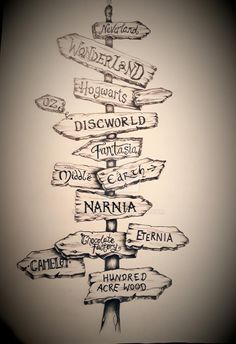 Fanstasy Lands Sign Post Drawing by clvmoore on DeviantArt Cool Art Drawings, Art Drawings Sketches, Disney Drawings, Deviantart Zeichnungen, Harry Potter Drawings, Disney Tattoos, Disney Quotes, Book Fandoms, Disney Wallpaper