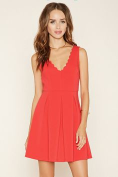 Scalloped A-Line Dress   Forever 21 - 2000176402
