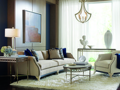 Lovely living room by Compositions by Schnadig. Couch And Chair Set, Sofa Set, Wood Trim, Fabric Sofa, Gray Fabric, Home And Living, Furniture Decor, Living Spaces, Living Rooms