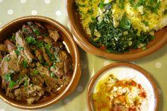 Moorish shoulder of lamb, saffron rice, swiss chard with garlic, and yoghurt sauce