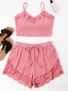No Summer Lace Solid Flat Elastic Mid Sleeveless Spaghetti Regular Fashion Casual and Daily and Going Lace Trim Cami Top and Shorts Set, Pajama Outfits, Lazy Outfits, Night Outfits, Cute Outfits, Cami Tops, Cute Sleepwear, Summer Pajamas, Silk Chemise, Silk Pajamas