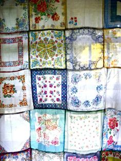 vintage hankie curtain, by Rose Beerhorst. Could be a shower curtain, and use a liner