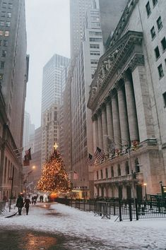 Nyc Photograph - New York City - Festive Holiday Tree In The Snow - Financial District by Vivienne Gucwa New York Noel, New Year New York, New York Times, New York Wallpaper, Nyc Holidays, Nyc Christmas, Christmas Wreaths, Xmas, New York Winter