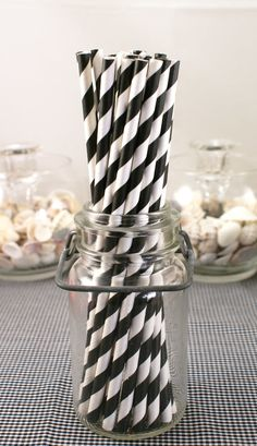 STUDiO SALE - 75 BLACK and white striped Paper Drinking Straws - For baby boy shower.