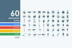 60 restaurant icons by Palau on Creative Market