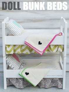 DIY bunk bed plans and linens for doll bed Josie would like this! Diy Doll Bunk Bed, Doll Beds, Kids Bunk Beds, Diy Bed, Ikea Doll Bed, Ikea Beds, American Girl Furniture, Girls Furniture, Doll Furniture