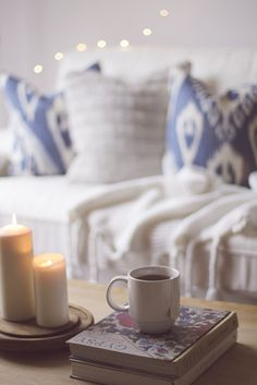 "Cold, rainy, cozy kind of day with the ""Skye"" indigo throw pillow and cinnamon tea 