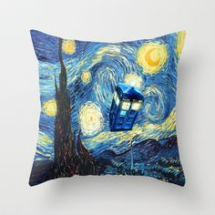Tardis Doctor Who Starry Night Throw Pillow by Pointsalestore - $20.00