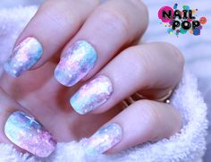 nailpopllc:    Halo nebula nails :3  Uhg, no matter what light I take these photos in, I can't get the cool halo effect to really pop!  Oh well, they're still super cute.