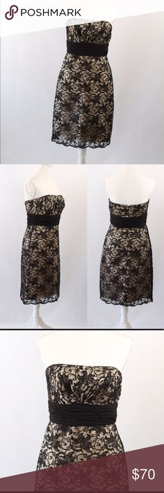 WHBM Lace Strapless Cocktail Dress Gorgeous cocktail dress by White House Black Market. Features beaded details on bust, no signs of wear. Size 6. White House Black Market Dresses Midi