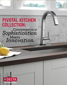 Create a strong statement in your kitchen with the confident slant of a Pivotal Kitchen Faucet. A go-to for contemporary kitchen styles. Contemporary Kitchen Faucets, Contemporary Stairs, Contemporary Building, Modern Contemporary Homes, Contemporary Apartment, Contemporary Chandelier, Contemporary Home Decor, Contemporary Wallpaper, Contemporary Landscape