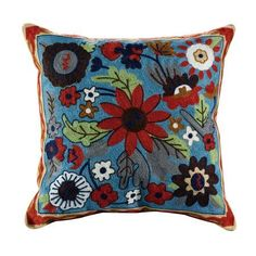 Liam Embroidered Cotton Throw Pillow, Blue