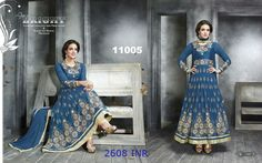 Grace the floor with this amazing blue georgette ankle length full sleeves anarkali suit. #MohiniSareeOnline
