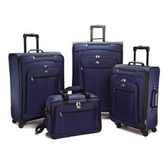 American Tourister Luggage Pop Extra Spinner - 4 Piece Set (4PC Set, Navy)