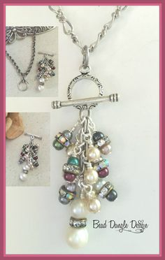 Beautiful Fresh Water Pearls in shades of Burgundy, Off White, Gray and Pale Turquoise accented with Swarovski Crystals. Beaded Dangles are Interchangeable so you can replace with a variety of Dangles available. A variety of Chains are available. Shown with Spiral Link Rhodium Chain available in different lengths. Visit Bead Dangle Design to see entire Collection.