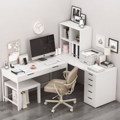 models: Office furniture - Ikea corner workplace with alex table and alejall chair. Home Office Space, Home Office Design, Home Office Decor, Home Decor, Home Office White Desk, Home Office Table, Ikea Office, Office Spaces, Work Spaces