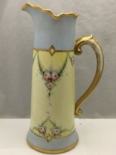 "Antique JPL Limoges France Blank Tankard Hand Painted By Stouffer Studio 14 3/4"" #JPLLimoges"